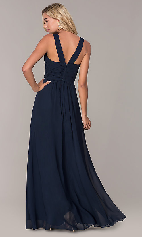 Image of long prom dress with ruched sweetheart bodice. Style: FB-GL2608 Back Image