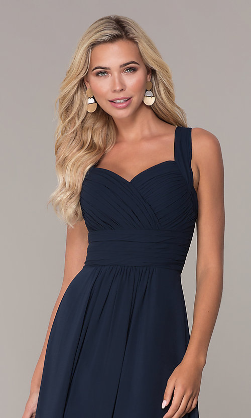 Image of long prom dress with ruched sweetheart bodice. Style: FB-GL2608 Detail Image 1