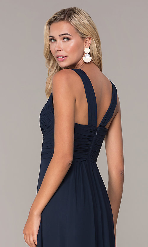 Image of long prom dress with ruched sweetheart bodice. Style: FB-GL2608 Detail Image 2
