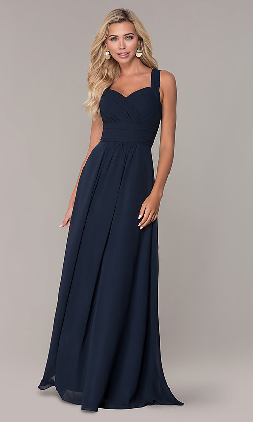 Image of long prom dress with ruched sweetheart bodice. Style: FB-GL2608 Detail Image 3