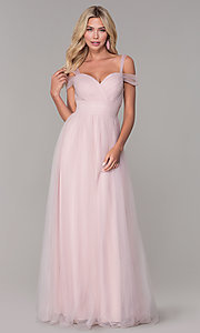 Image of Elizabeth K cold-shoulder long tulle prom dress. Style: FB-GL2610 Front Image
