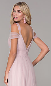Image of Elizabeth K cold-shoulder long tulle prom dress. Style: FB-GL2610 Detail Image 2