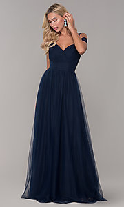 Image of Elizabeth K cold-shoulder long tulle prom dress. Style: FB-GL2610 Detail Image 5