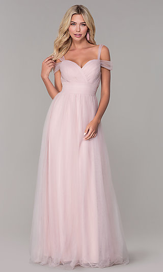 Elizabeth K Cold-Shoulder Long Tulle Prom Dress