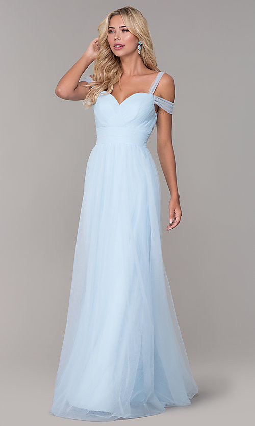 Image of Elizabeth K cold-shoulder long tulle prom dress. Style: FB-GL2610 Detail Image 7