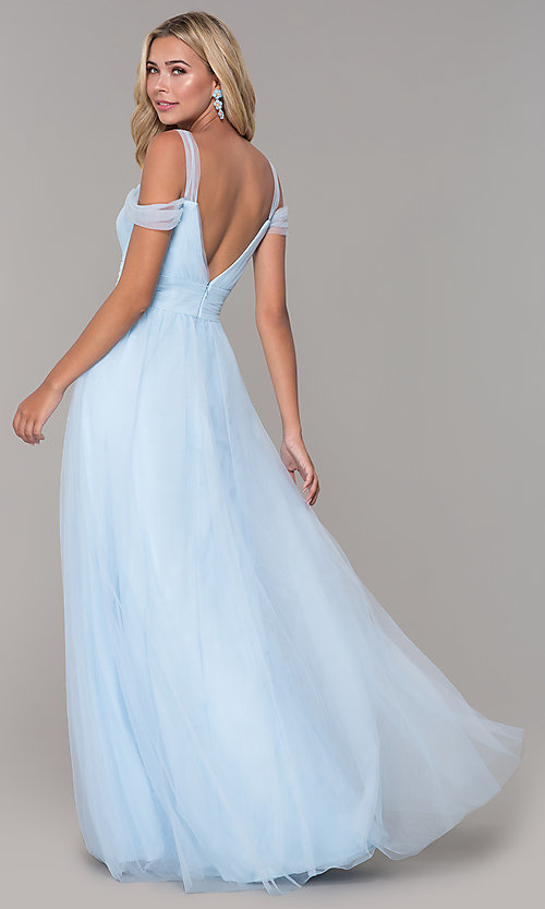Image of Elizabeth K cold-shoulder long tulle prom dress. Style: FB-GL2610 Detail Image 8