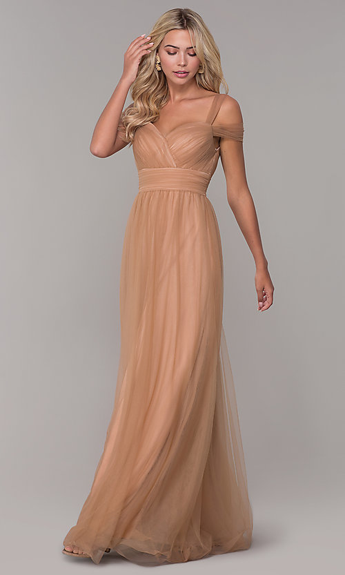 Image of Elizabeth K cold-shoulder long tulle prom dress. Style: FB-GL2610 Detail Image 3