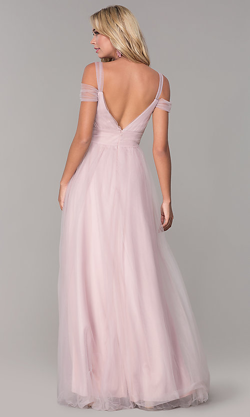 Image of Elizabeth K cold-shoulder long tulle prom dress. Style: FB-GL2610 Back Image