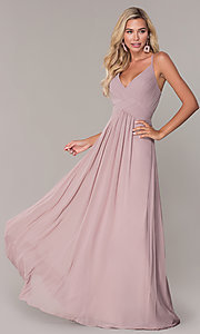 Image of long chiffon prom dress with ruched v-neck bodice. Style: FB-GL2609 Detail Image 4