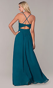 Image of long chiffon prom dress with ruched v-neck bodice. Style: FB-GL2609 Back Image