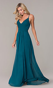 Image of long chiffon prom dress with ruched v-neck bodice. Style: FB-GL2609 Detail Image 3