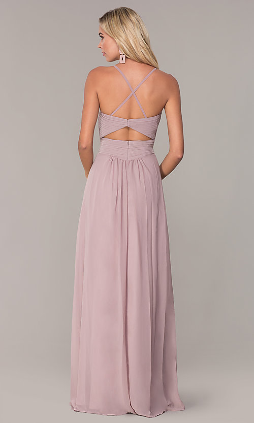 Image of long chiffon prom dress with ruched v-neck bodice. Style: FB-GL2609 Detail Image 5