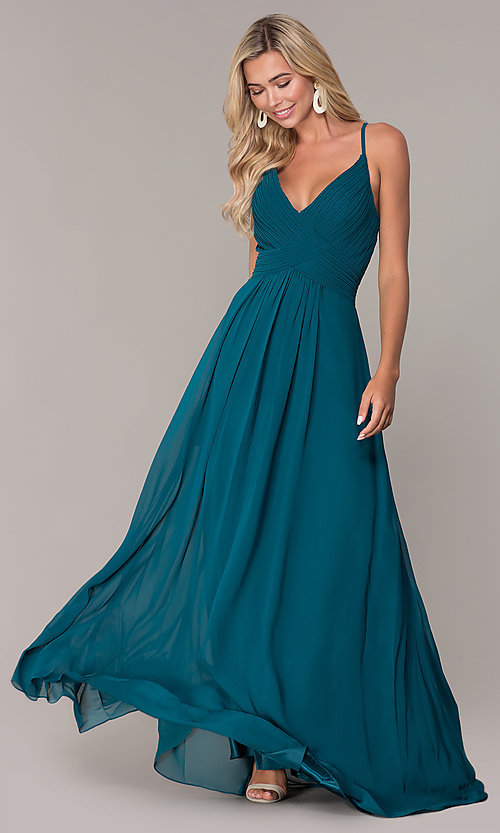 Image of long chiffon prom dress with ruched v-neck bodice. Style: FB-GL2609 Front Image