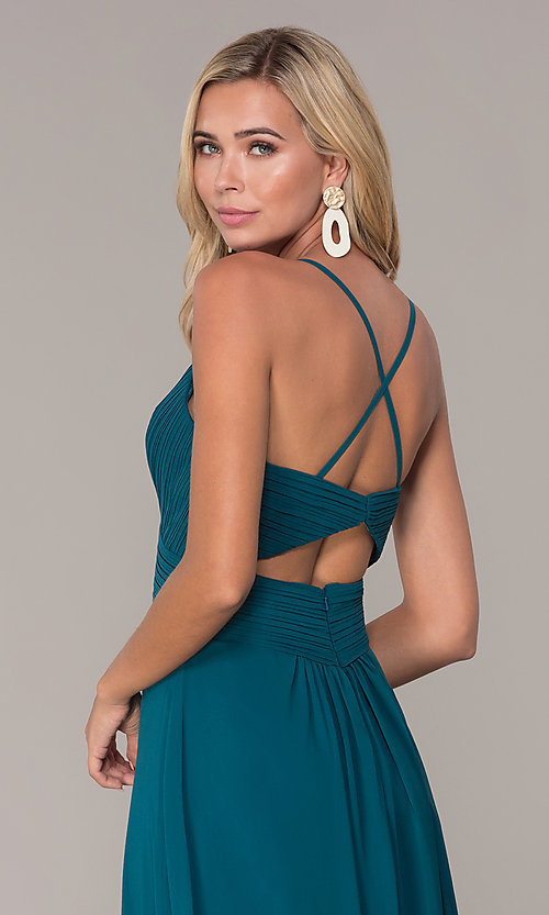 Image of long chiffon prom dress with ruched v-neck bodice. Style: FB-GL2609 Detail Image 2
