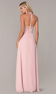 Image of ruched-bodice halter evening dress by Elizabeth K. Style: FB-GL2606 Back Image