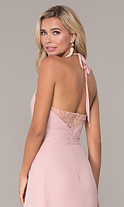 Image of ruched-bodice halter evening dress by Elizabeth K. Style: FB-GL2606 Detail Image 2
