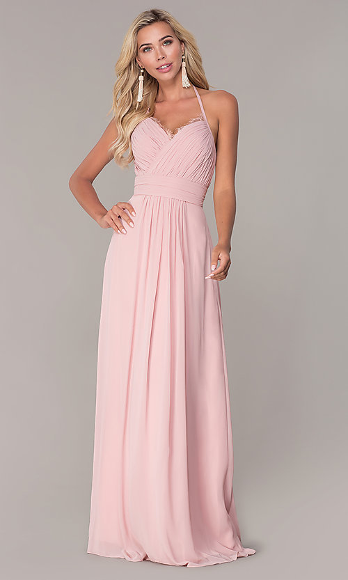 Image of ruched-bodice halter evening dress by Elizabeth K. Style: FB-GL2606 Front Image