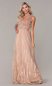 Image of pleated long formal prom dress in rose gold. Style: FB-GL2574 Front Image