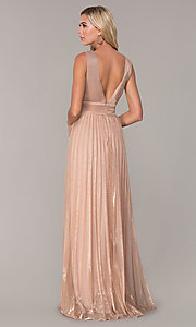 Image of pleated long formal prom dress in rose gold. Style: FB-GL2574 Back Image