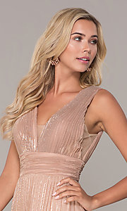 Image of pleated long formal prom dress in rose gold. Style: FB-GL2574 Detail Image 1