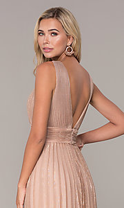 Image of pleated long formal prom dress in rose gold. Style: FB-GL2574 Detail Image 2