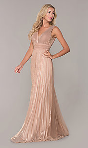Image of pleated long formal prom dress in rose gold. Style: FB-GL2574 Detail Image 3