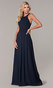 Image of Elizabeth K high-neck long chiffon prom dress. Style: FB-GL2605 Detail Image 3