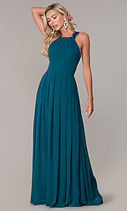 Image of Elizabeth K high-neck long chiffon prom dress. Style: FB-GL2605 Detail Image 6