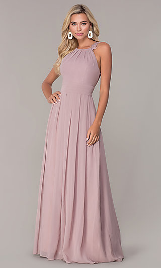 Elizabeth K High-Neck Long Chiffon Prom Dress