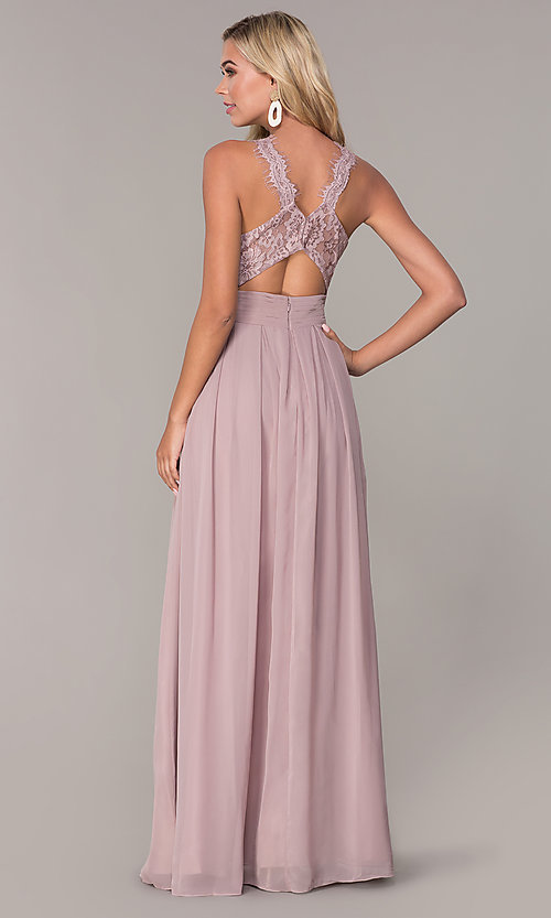 Image of Elizabeth K high-neck long chiffon prom dress. Style: FB-GL2605 Back Image