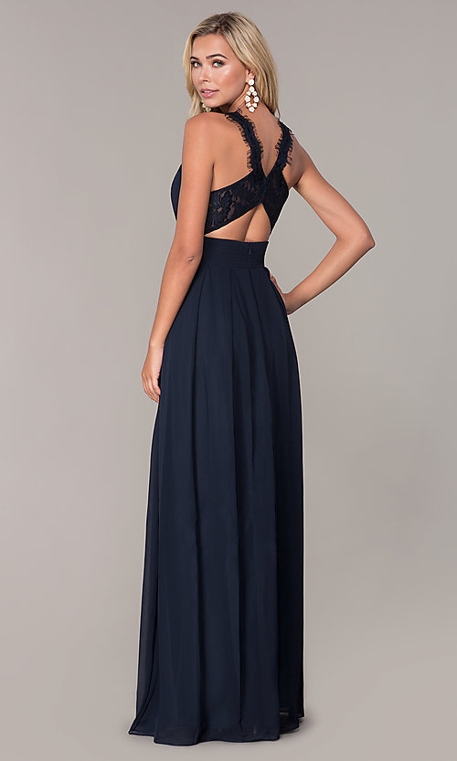 Image of Elizabeth K high-neck long chiffon prom dress. Style: FB-GL2605 Detail Image 4