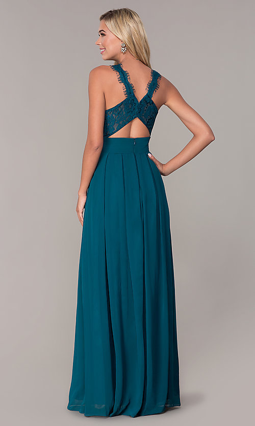 Image of Elizabeth K high-neck long chiffon prom dress. Style: FB-GL2605 Detail Image 7