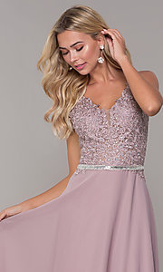 Image of embroidered-bodice long prom dress by Elizabeth K. Style: FB-GL2653 Detail Image 6