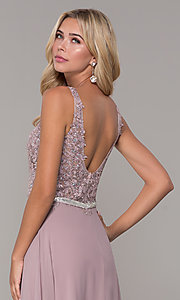Image of embroidered-bodice long prom dress by Elizabeth K. Style: FB-GL2653 Detail Image 2