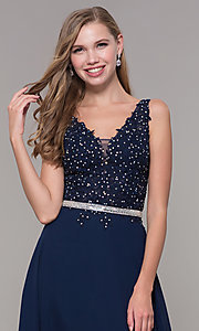 Image of embroidered-bodice long prom dress by Elizabeth K. Style: FB-GL2653 Detail Image 1