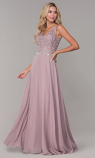 Embroidered-Bodice Long Prom Dress by Elizabeth K