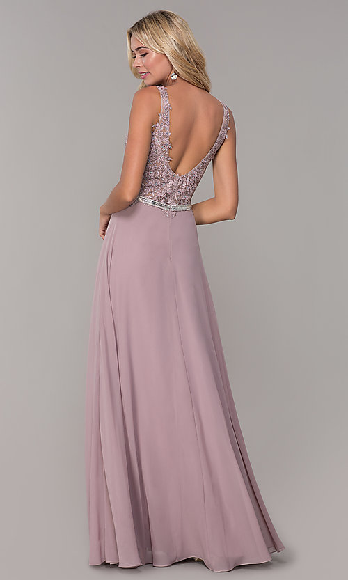 Image of embroidered-bodice long prom dress by Elizabeth K. Style: FB-GL2653 Back Image