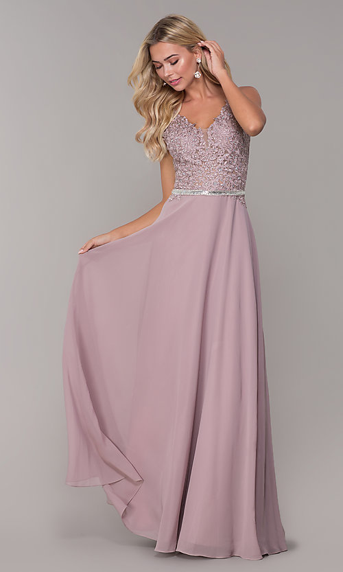 Image of embroidered-bodice long prom dress by Elizabeth K. Style: FB-GL2653 Detail Image 3