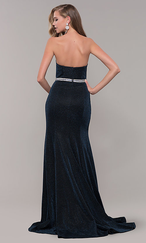 Navy Strapless Prom Dress