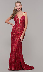 Image of red glitter-lace long v-neck formal dress. Style: MF-E2770 Front Image