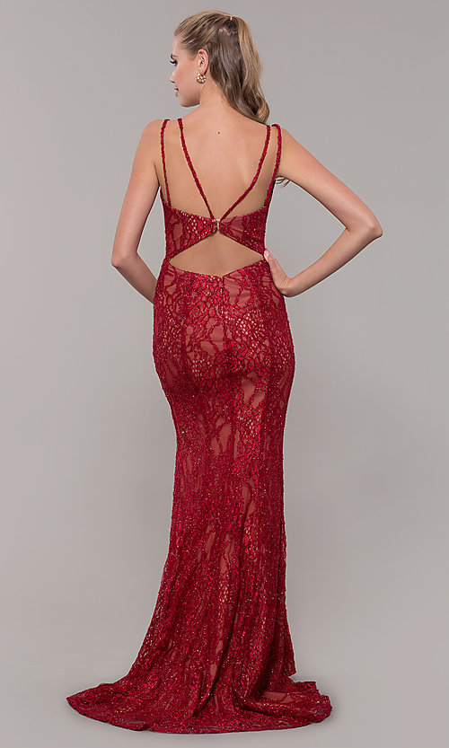 Image of red glitter-lace long v-neck formal dress. Style: MF-E2770 Back Image