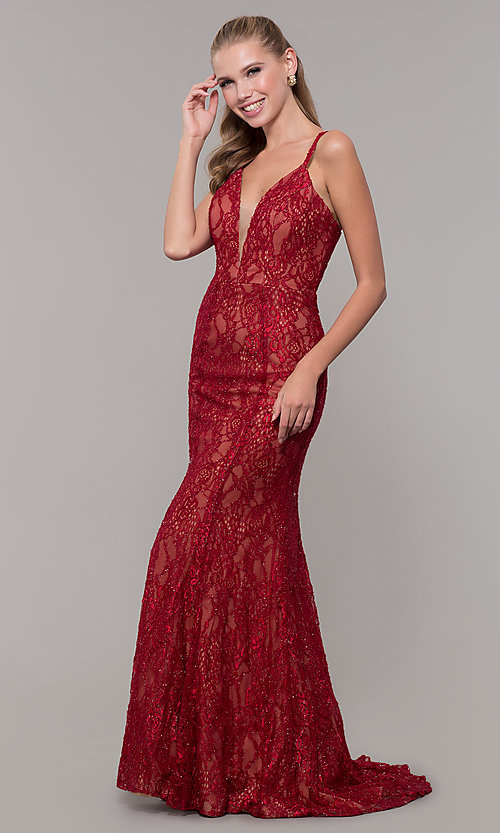 Image of red glitter-lace long v-neck formal dress. Style: MF-E2770 Detail Image 3