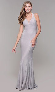Image of glitter-jersey long formal dress with caged back. Style: FB-GL2549 Back Image