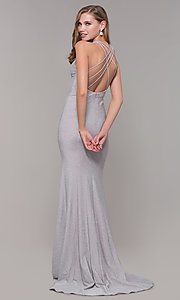 Image of glitter-jersey long formal dress with caged back. Style: FB-GL2549 Front Image