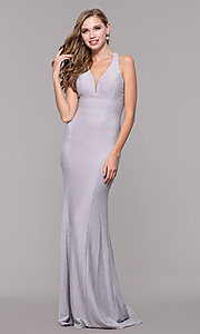 Image of glitter-jersey long formal dress with caged back. Style: FB-GL2549 Detail Image 3