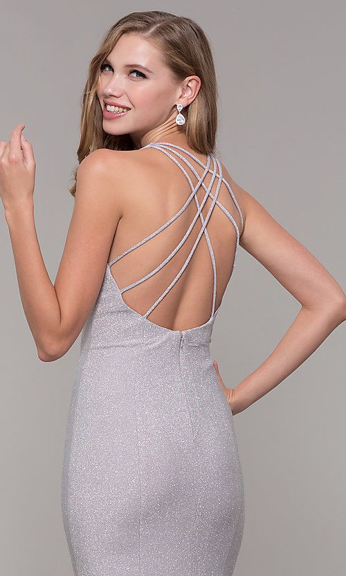 Image of glitter-jersey long formal dress with caged back. Style: FB-GL2549 Detail Image 2