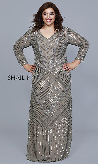 Long Shail K Plus Beaded Formal Dress with Sleeves