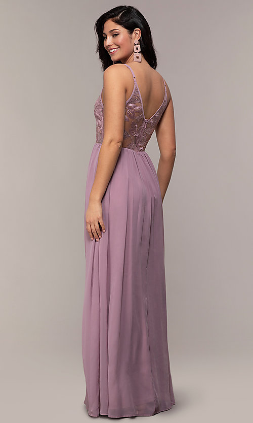 Image of long sequin illusion v-neck formal dress. Style: LP-PL-27852 Back Image