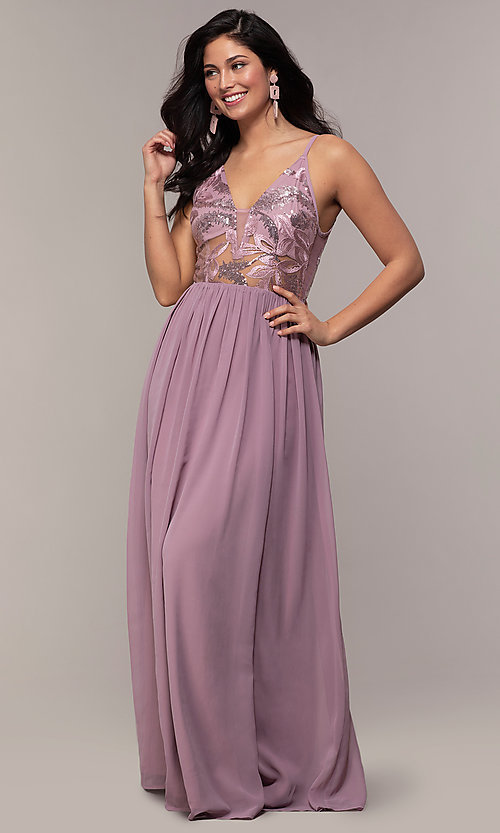 Image of long sequin illusion v-neck formal dress. Style: LP-PL-27852 Detail Image 3