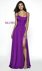Image of long backless scoop-neck formal gown by Blush. Style: BL-C2095 Detail Image 2